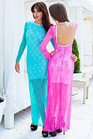 Платье в пол из гипюра с открытой спиной 42 Розовый