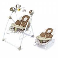 Детское кресло - качалка шезлонг BT-SC-0005 Бежевый. 5 скоростей укачивания. Спинка 3 положения.