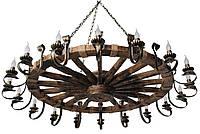 Люстра из дерева Колесо - Телеги 18 ламп Старая Бронза, Дерево Состаренное темное с веревками