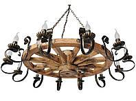 Люстра из дерева Колесо - Телеги 12 ламп Старая Бронза, Дерево Состаренное светлое