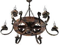 Люстра из дерева Колесо - Телеги 6 ламп Старая Бронза, Дерево Состаренное темное