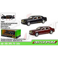 "Машина метал 7687 ""АВТОПРОМ""1:24 Rolls-Royce , 2 цвета, батар,свет,звук,двери откр.,в кор.28,5*14,5*11,5см"