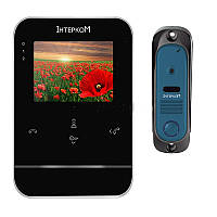 Комплект видеодомофон и вызывная панель Интерком ІМ-11 (ІМ-01 black + ІМ-10 blue)