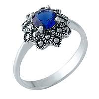 Серебряное кольцо  с натуральными марказитами, сапфиром nano