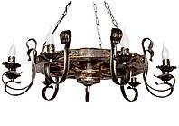 Люстра из дерева Колесо - Телеги 9 ламп Старая Бронза, Дерево Состаренное темное