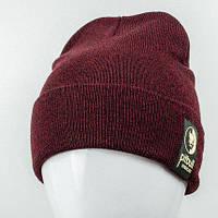 Молодежная  шапка c нашивкой Nord Pitbull марсала (9564)