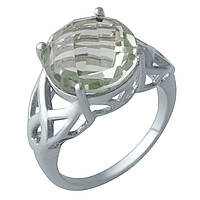 Серебряное кольцо  с натуральным зеленим аметистом , фото 1