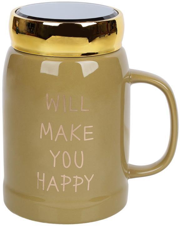 "Кружка фарфоровая ""Will make you happy"" 550мл с крышкой, цвет хаки"