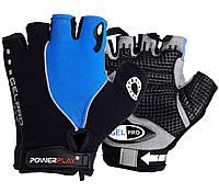 Велорукавички PowerPlay 5019 C S Чорно-блакитні (5019C_S_Blue), фото 1