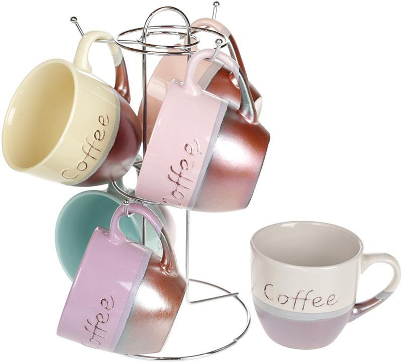 "Набор 6 керамических кружек ""Cup of coffee"" 240мл на подставке"