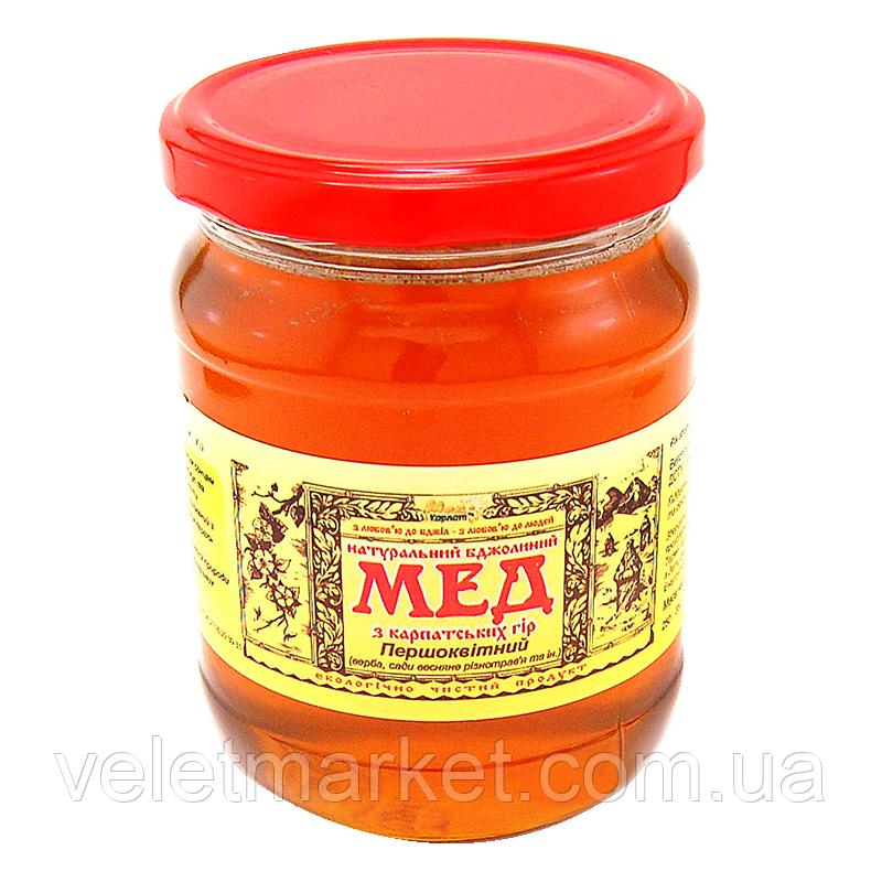 """Мёд первоцветный сбор ТМ """"Мёд Карпат"""" 600 г"""