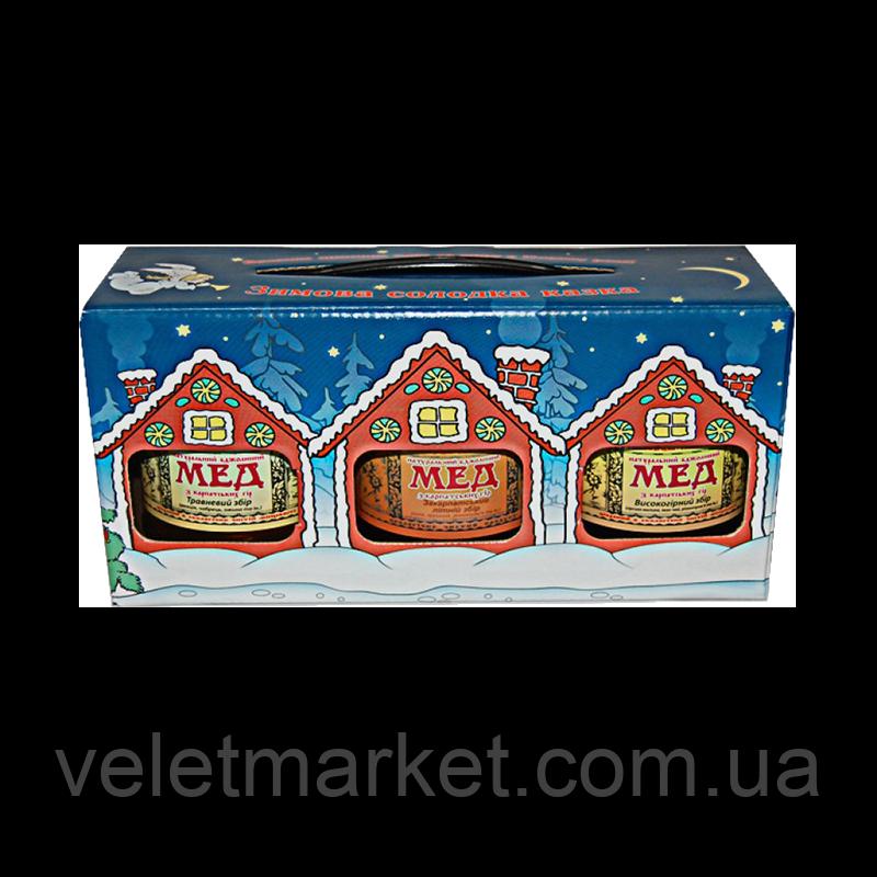 """Подарочный набор """"Зимняя сладкая сказка"""" ТМ """"Мёд Карпат"""" 3*350 г"""