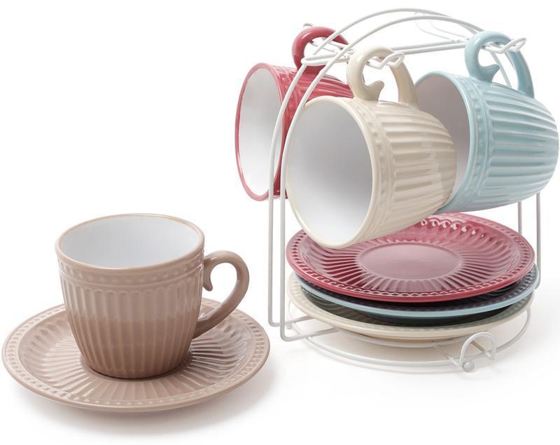 """Набор 4 керамические чашки """"Артемида"""" 250мл с блюдцами на подставке"""