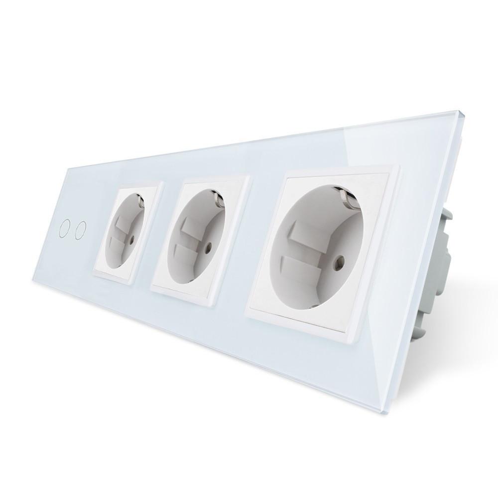 Сенсорный выключатель на две линии с тремя розетками Livolo, цвет белый, стекло (VL-C702/C7C3EU-11)