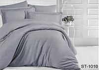 ✅ Комплект  постельного белья  двуспальный Евро (Страйп-сатин) TAG ST-1010 (Серый)