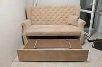 Небольшой кухонный раскладной диван в качественной ткани (Персиковый)