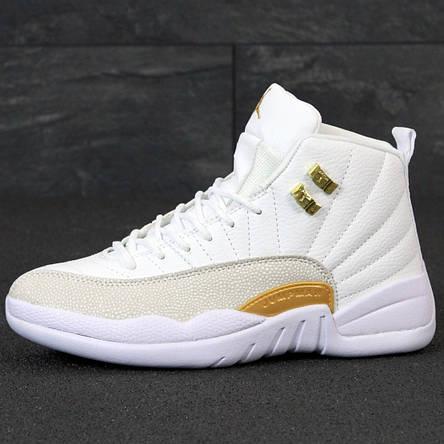 Кроссовки женские Nike Air Jordan 11 белые с золотым (Top replic), фото 2