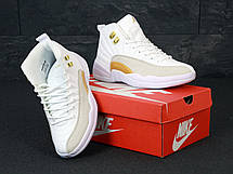 Кроссовки женские Nike Air Jordan 11 белые с золотым (Top replic), фото 3