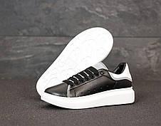 Рефлектив! Кроссовки женские Alexander McQueen черные-белые (Top replic), фото 2