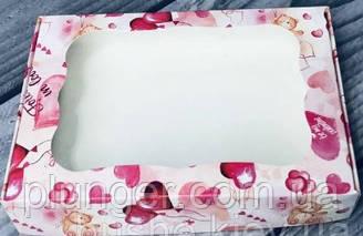 Коробка для печива, пряників, з вікном, 10 см х 15 см х 3 см, мілований картон Сердечка