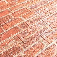 Декоративная 3Д-панель 10 шт. стеновая Рыжий Кирпич (самоклеющиеся 3d панели для стен оригинал) 700x770x7 мм