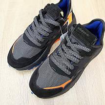 Кроссовки женские Adіdas Nite Jogger (Рефлективные) чёрные с оранжевым (Top replic), фото 3