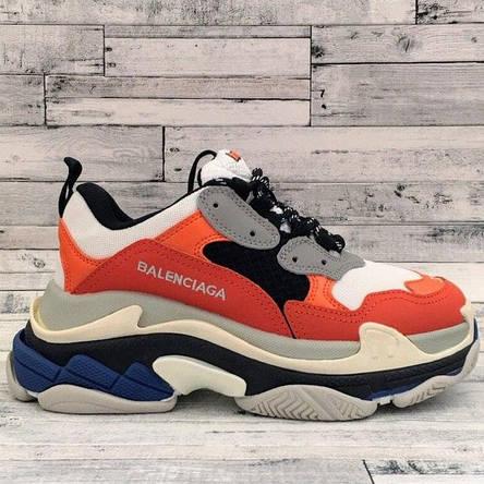 Кроссовки женские Balenciaga Triple S оранжевые-серые (Top replic), фото 2