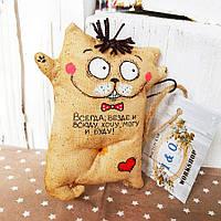 Ароматизированная игрушка Котик с приколом ручной работы. С ароматом кофе, ванили и корицы .