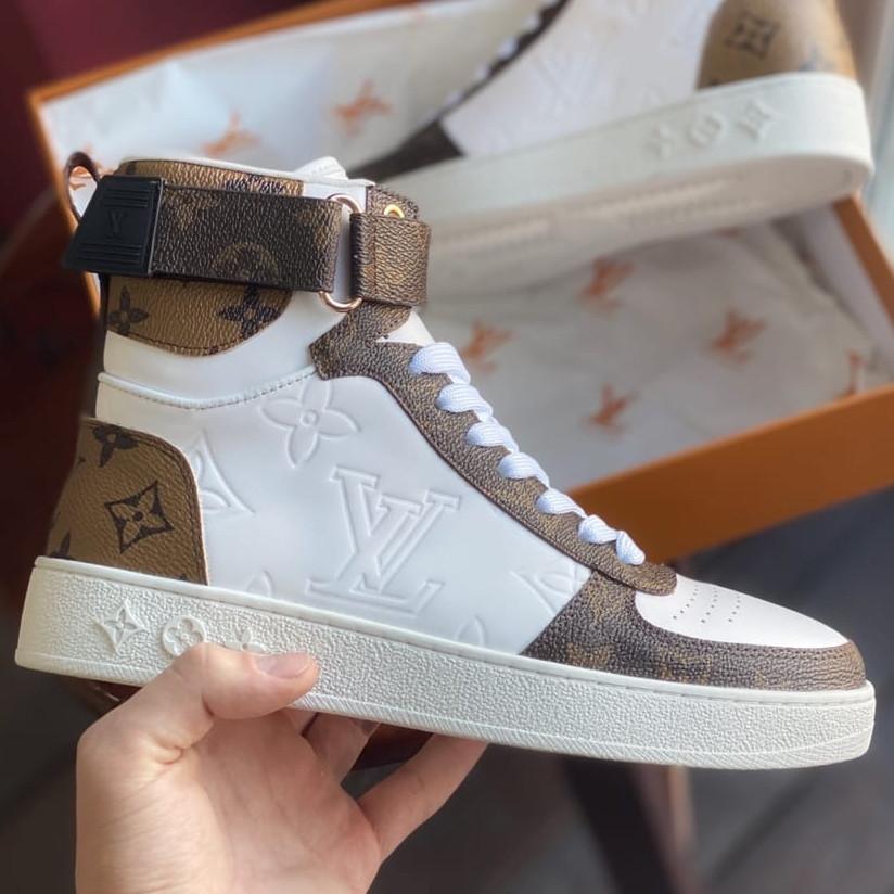 Кроссовки женские Louis Vuitton Sneakers белые-коричневые (Top replic)