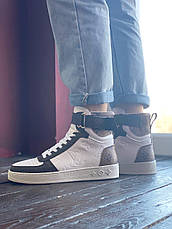 Кроссовки женские Louis Vuitton Sneakers белые-коричневые (Top replic), фото 2