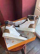 Кроссовки женские Louis Vuitton Sneakers белые-коричневые (Top replic), фото 3