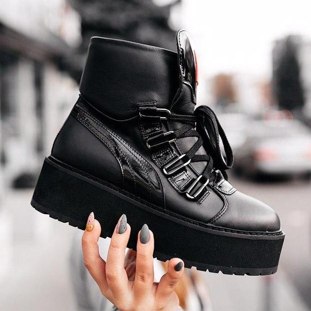 Кроссовки женские Puma х Fenty by Rihanna sneaker boot черные (Top replic)