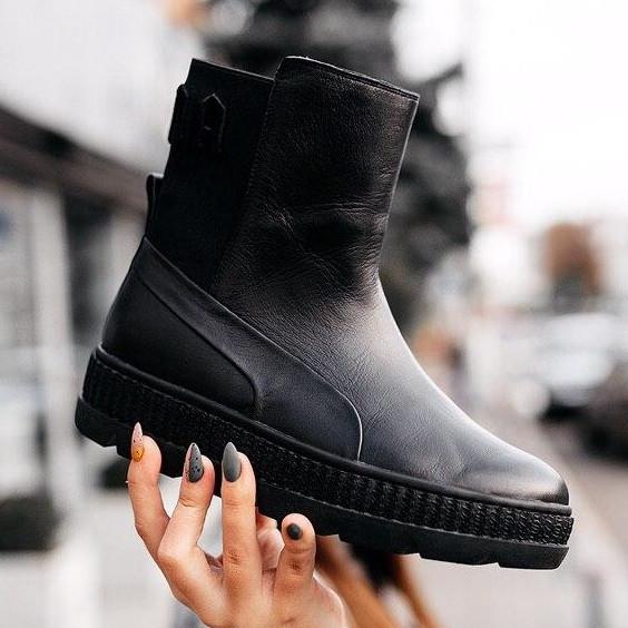 Кроссовки женские Puma by Rihanna Chelsea sneaker boot черные (Top replic)