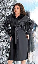 Платье 881154-1 черный экокожа  с 48-50 по 52-58 размер (мш)
