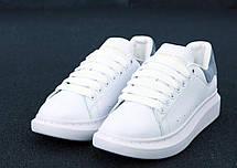 Кроссовки женские Alexander McQueen белые, серая пятка (Top replic), фото 2