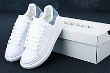 Кроссовки женские Alexander McQueen белые, серая пятка (Top replic), фото 3