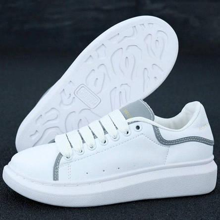 Кросівки жіночі Alexander McQueen ( Рефлектив ) білі (Top replic), фото 2