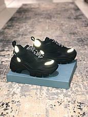 Кроссовки женские Prada Chunky черные (Top replic), фото 3