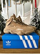 Теплые-зимние мужские кроссовки Adіdas Yeezy 500 High бежевые-коричневые (Top replic), фото 2