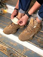 Теплые-зимние мужские кроссовки Adіdas Yeezy 500 High бежевые-коричневые (Top replic), фото 3