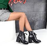 Элегантные демисезонные ботинки на каблуке кожаные ботильоны, фото 5