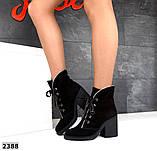 Элегантные демисезонные ботинки на каблуке кожаные ботильоны, фото 7