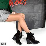 Элегантные демисезонные ботинки на каблуке кожаные ботильоны, фото 8