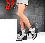 Элегантные демисезонные ботинки на каблуке кожаные ботильоны, фото 9