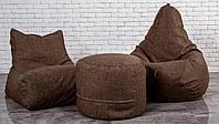 Кресло мешок груша пуф (набор мягкой бескаркасной мебели) рогожка
