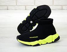 Кроссовки мужские (для бега) Balenciaga Speed Trainer черные-салатовые (Top replic), фото 2