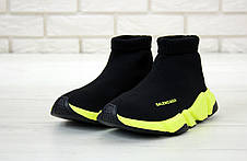 Кроссовки мужские (для бега) Balenciaga Speed Trainer черные-салатовые (Top replic), фото 3