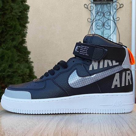 Кроссовки мужские Nike Air Force x OFF White (Рефлектив) черные (Top replic), фото 2