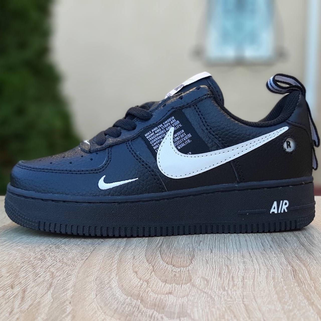 Кроссовки мужские Nike Air Force 1 Mid LV8 черные низкие (Top replic)