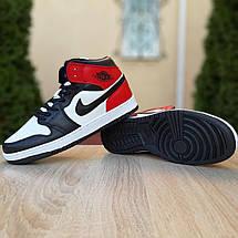 Кроссовки мужские Nike Air Jordan 1 Retro белые с чёрным и красным (Top replic), фото 3